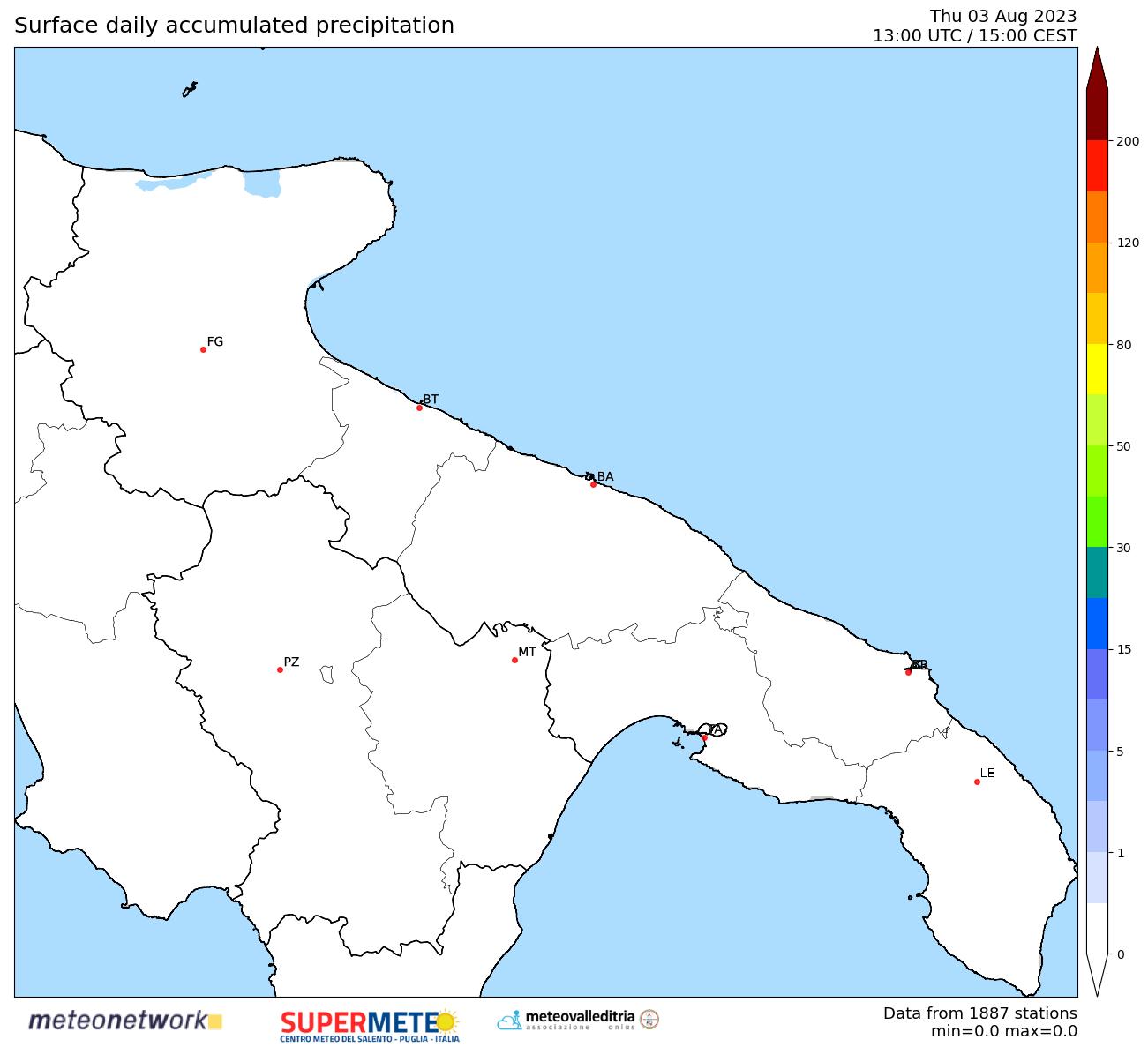 mappa real time pioggia Puglia-Basilicata
