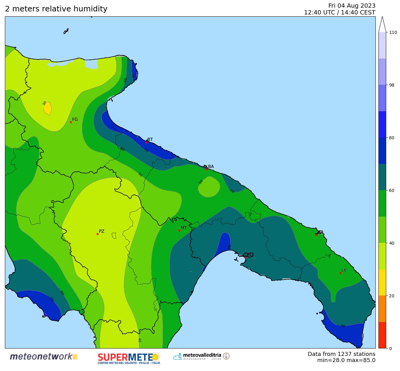 mappa real time umidit� Puglia-Basilicata