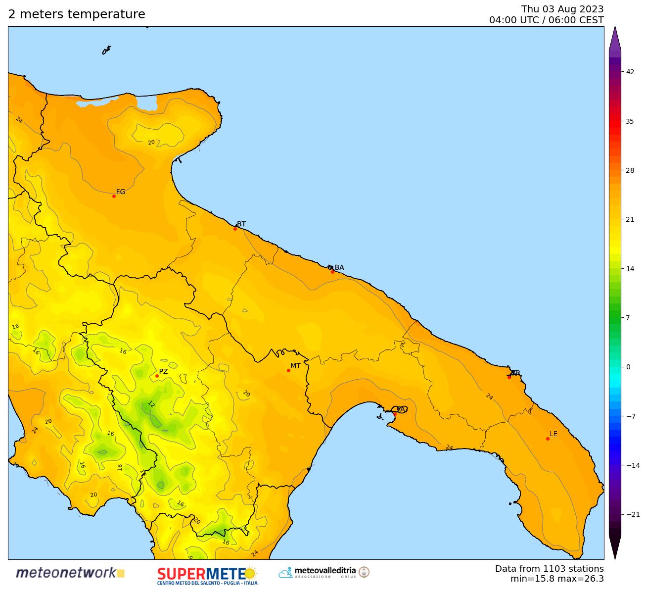 mappa real time temperatura Puglia-Basilicata