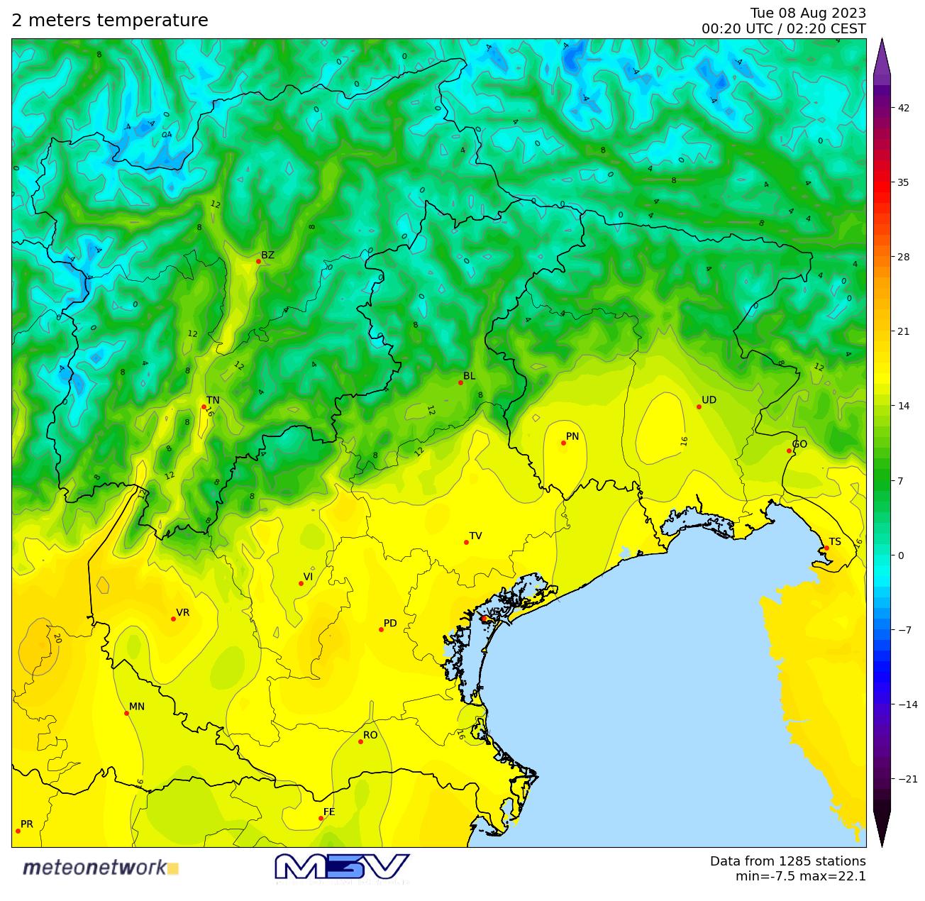 Temperature attuali sul Triveneto (Rete M3V)