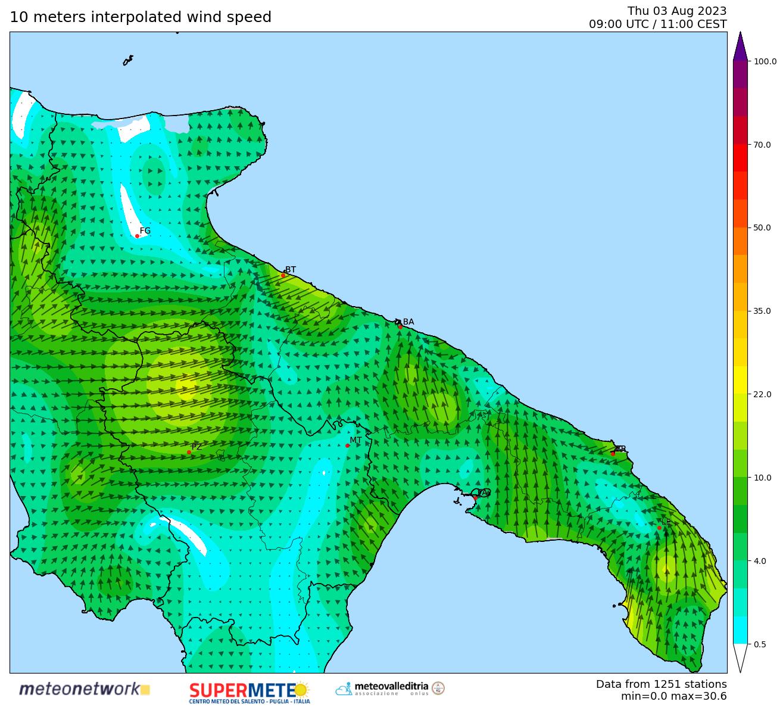 mappa real time vento Puglia-Basilicata