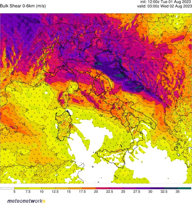 Shear Italia 0-6km Meteonetwork
