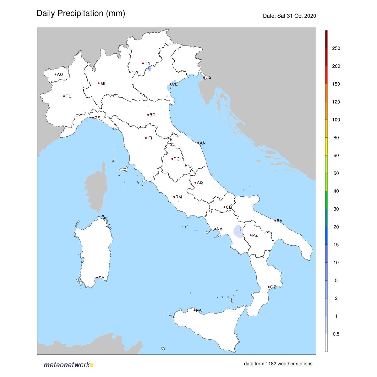 Dati Meteo 2020-10-31 prec_italia