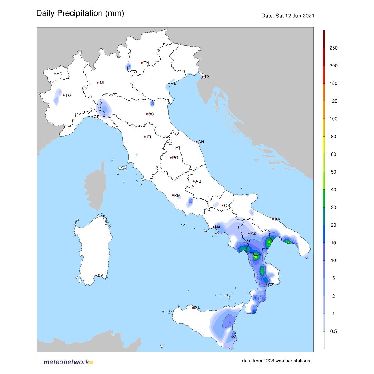 Dati Meteo 2021-06-12 prec_italia