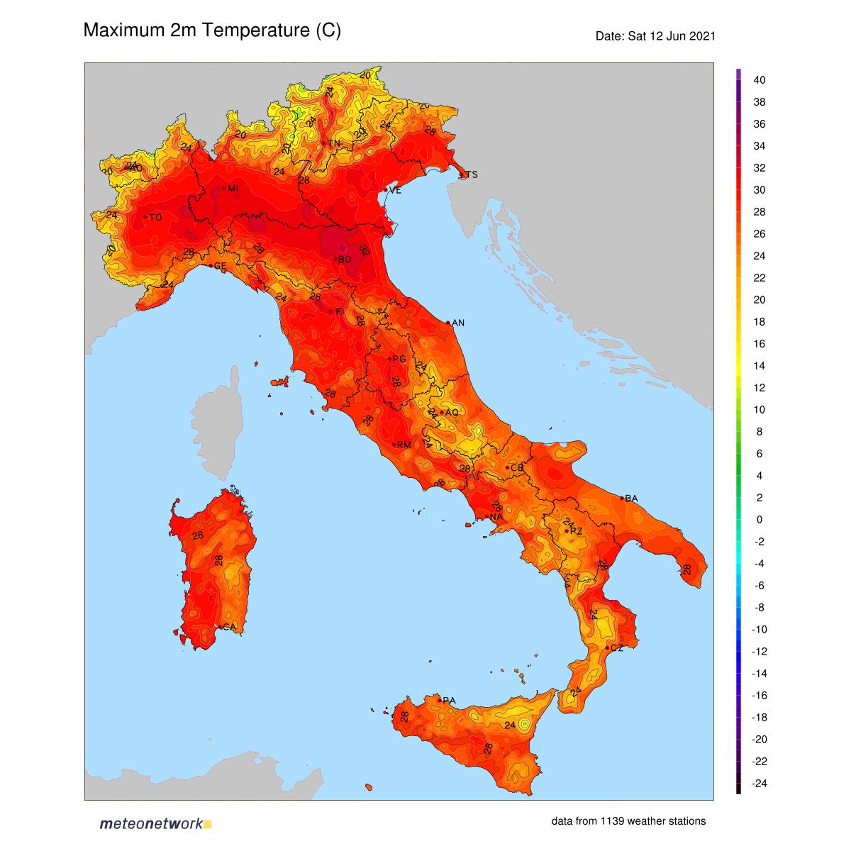 Dati Meteo 2021-06-12 temp_max_italia