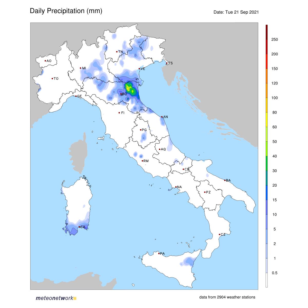 Dati Meteo 2021-09-21 prec_italia