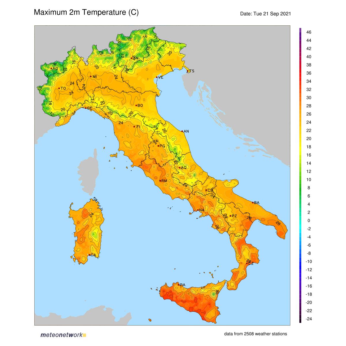 Dati Meteo 2021-09-21 temp_max_italia