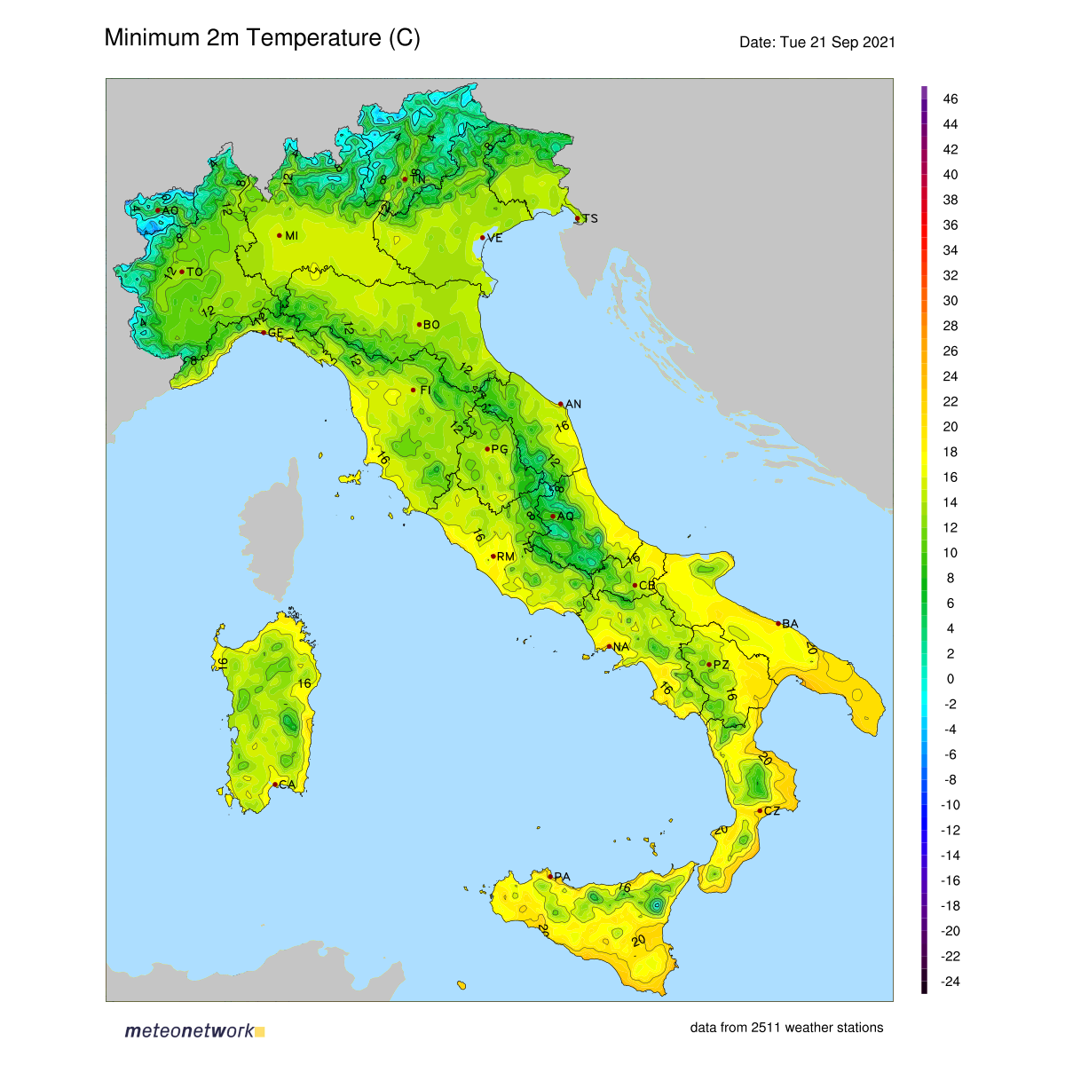 Dati Meteo 2021-09-21 temp_min_italia